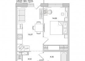 Однокомнатная квартира на продажу, 42.2 м2, Санкт-Петербург, Приморский район, Красногвардейский переулок, 23У